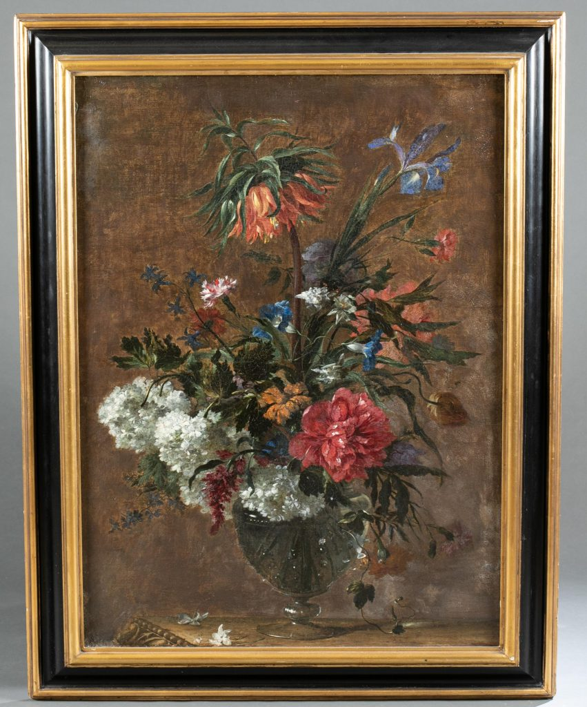 Attrib. Antoine Monnoyer (French, 1670-1747), oil-on-canvas floral still life, late-17th/ early 18th century. Unsigned. 37½ x 28½ in (sight). Estimate: $3,000-$5,000