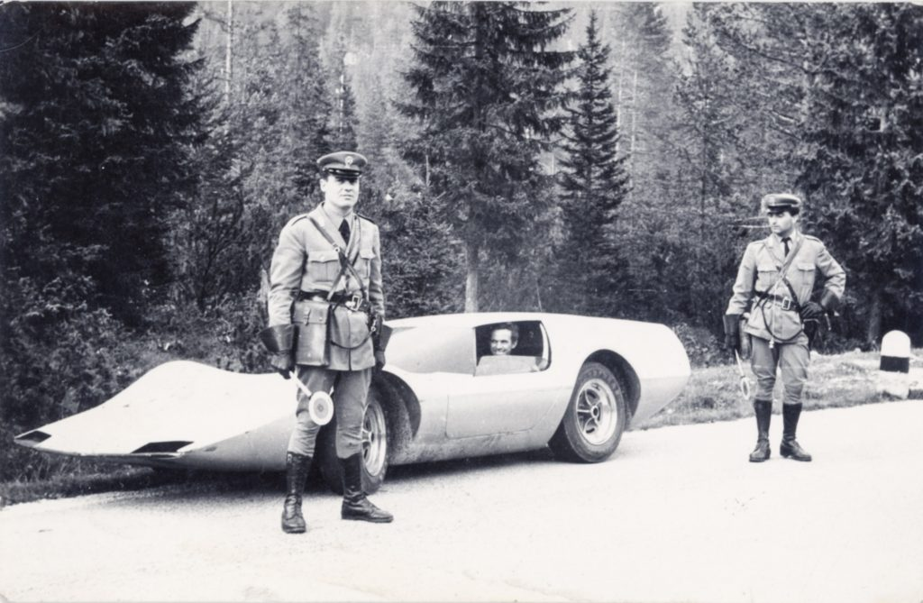 In 1967, John Bucci (Italian/American, 1935-2019) drove around Italy in his concept car 'La Trieste,' attracting mobs of curious, car-crazy citizens. Italian Polizia even pulled him over just to get a closer look at the futuristic vehicle, which was 100% street legal. Archival photo from the Estate of John Bucci