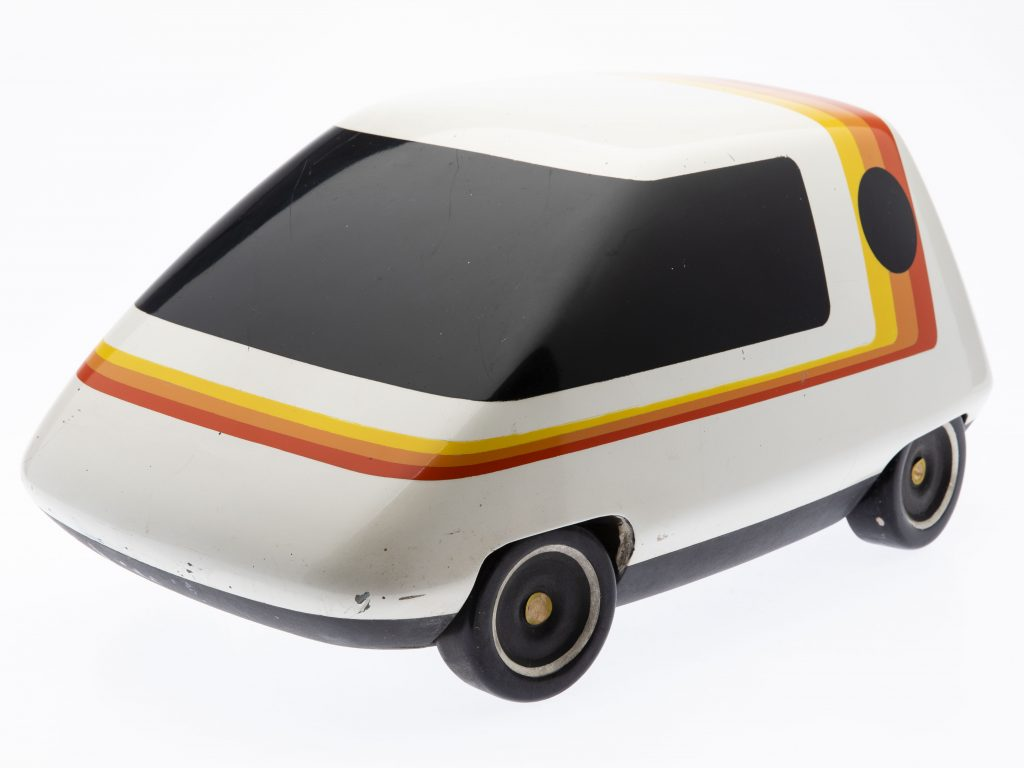 John Bucci (Italian/American, 1935-2019), largest of three electric concept car models, 17 x 10 x 8in., finished; offered together with two unfinished models. Group estimate $100-$150