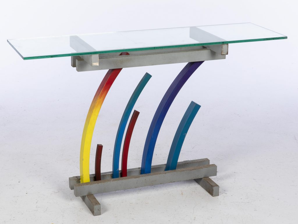 John Bucci (Italian/American, 1935-2019), multicolored, arched metal console table base (glass top not included), 29 x 28½ x 13¾ in. Estimate $300-$500