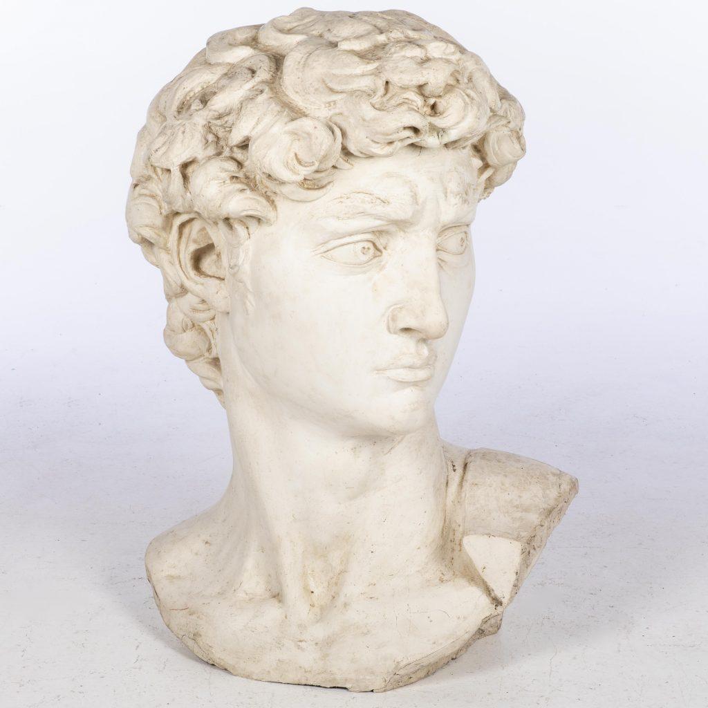 John Bucci (Italian/American, 1935-2019), fiberglass replica of the head of Michelangelo's 'David,' 33 x 31 x 26½in. Estimate $300-$500
