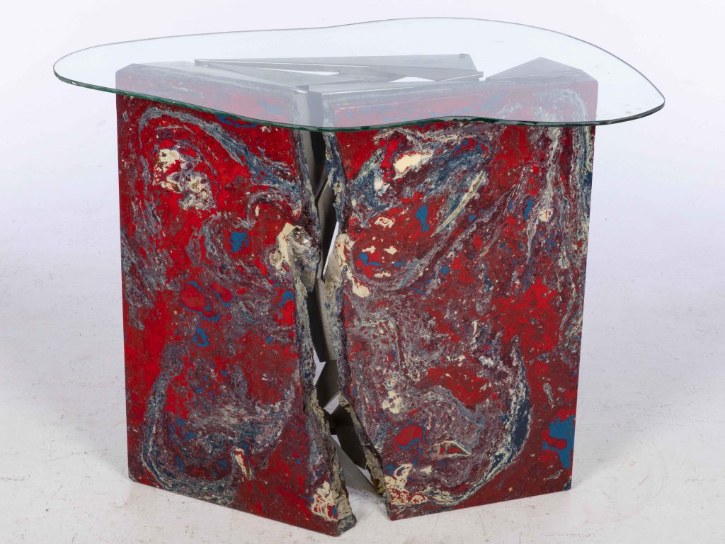 John Bucci (Italian/American, 1935-2019), table base of concrete, resin and metal, artist-signed, with freeform glass top, 34½ x 33½ x 12in. Estimate $1,000-$1,500
