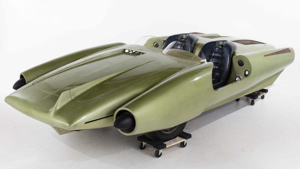 John Bucci (Italian/American, 1935-2019), 'La Shabbla,' concept car created circa 1962, fiberglass body and Fiat chassis with Arbath 750 engine, exhibited at the 1964 New York World's Fair in the Cavalcade of Custom Cars, 14ft W x 33in H x 63in D. Estimate $50,000-$75,000