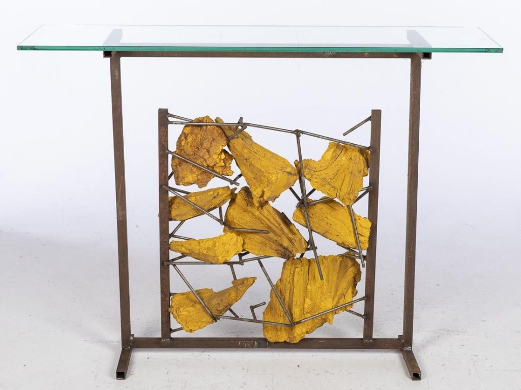 John Bucci (Italian/American, 1935-2019), metal and yellow resin console table (glass top not included), 36½ x 33 x 10 1/8in. Estimate $300-$500