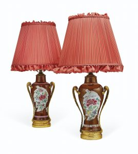 A PAIR OF ORMOLU-MOUNTED CHINESE FAMILLE ROSE PORCELAIN VASES MOUNTED AS LAMPS