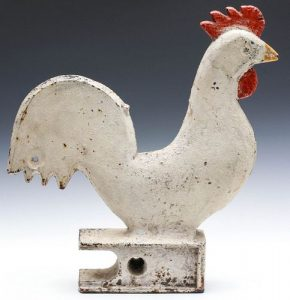 AN ELGIN IRON ROOSTER WINDMILL WEIGHT IN ORIGINAL PAINT