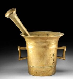 18th C. European Brass Mortar and Pestle