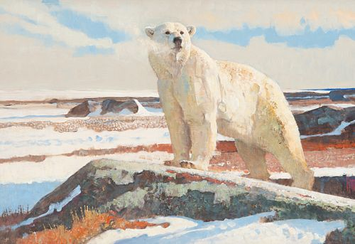 Lot 32, Bob Kuhn (1920-2007); Sunny Day, Cape Churchill, Acrylic on board; Sold on Bidsquare for $71,400