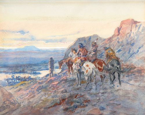 Lot 138, Charles M. Russell (1864-1926); Planning the Attack (The Wagon Train) (1902), watercolor on paper; Sold on Bidsquare for $154,700