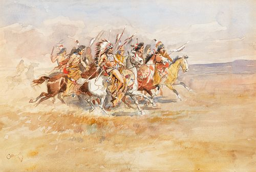 Lot 72, Charles M. Russell (1864-1926), Blackfeet War Party (circa 1896), watercolor and gouache on paper; Sold on Bidsquare for $190,400