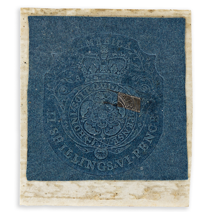 Stamp from the Stamp Act of 1765, circa 1765. Estimate $6,000 to $9,000.