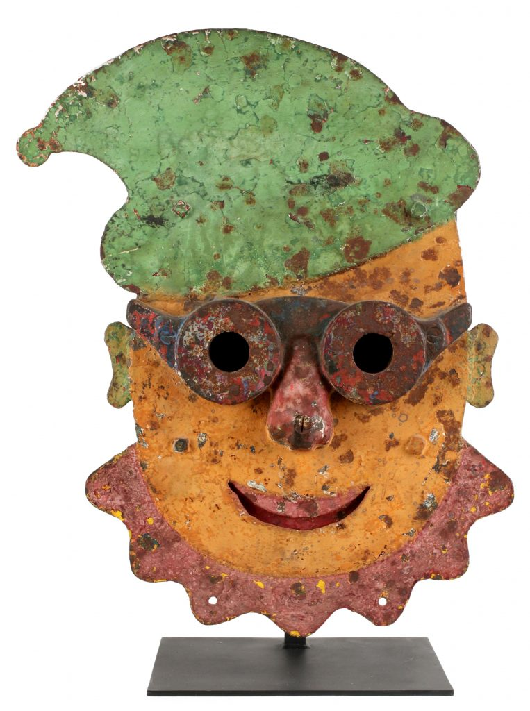Only known example of William F. Mangels (Coney Island, NY) cast-iron light-up clown gallery target known as 'Rowdy,' monumental 26 x 19.5in size. Custom iron stand conveys with target. Depicted in the book 'American Vernacular' by Maresca/Ricco. Estimate $30,000-$40,000