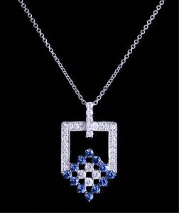 18K WG, Diamond & Sapphire Pendant Necklace