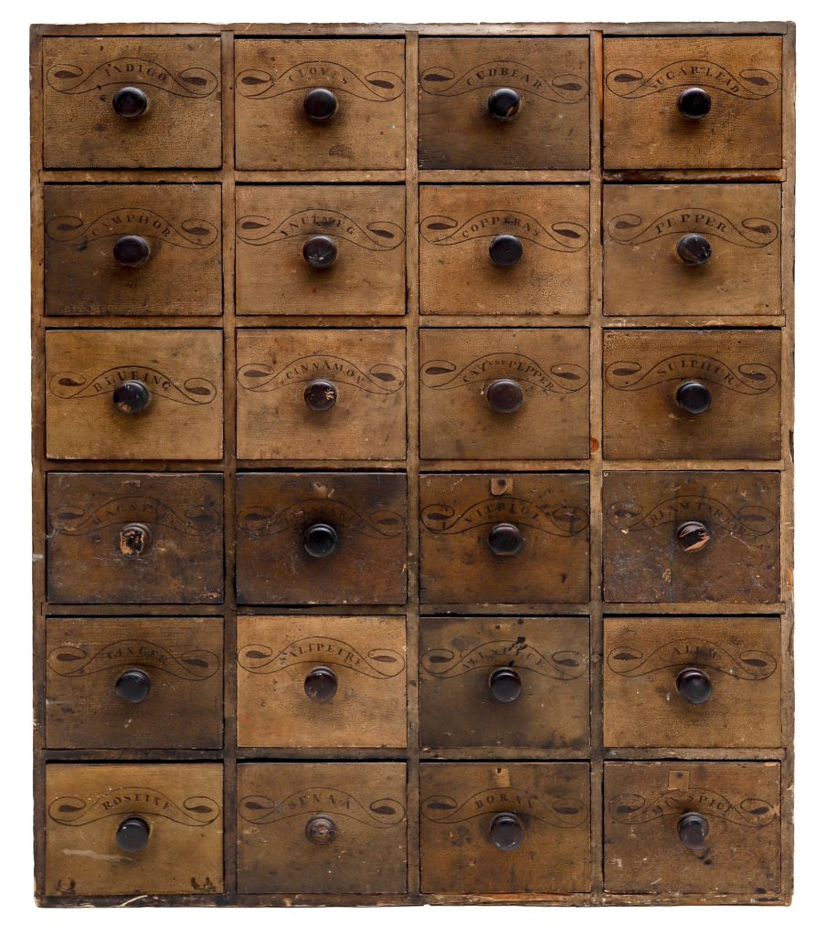 Large 19th-century decorated mustard-paint apothecary chest, 57 x 46in. Estimate $1,500-$2,500