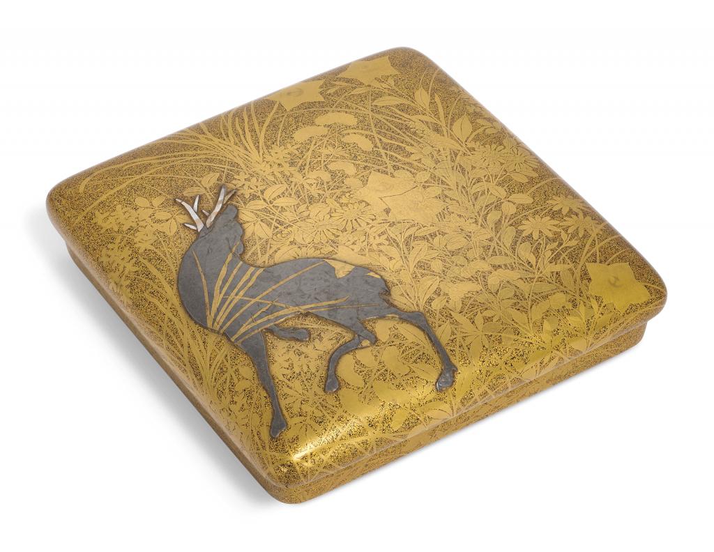 A Rimpa style lacquer writing box (suzuri-bako). Photo courtesy of Christie's.
