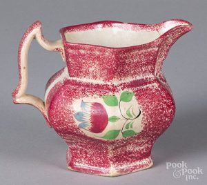 Red spatter pitcher, with tulip