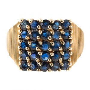 A 2.50 ctw Pave Sapphire Ring in 14K Yellow Gold