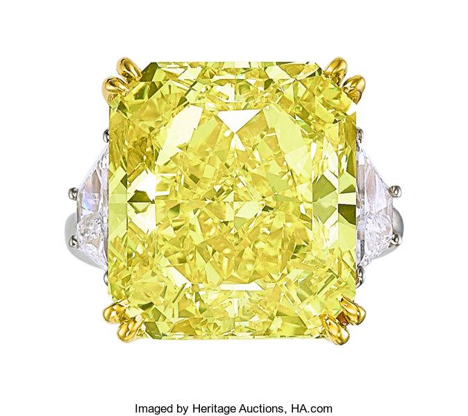 Fancy Vivid Yellow Diamond, Diamond, Platinum, Gold Ring