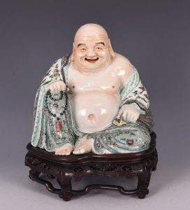 Famille Rose Porcelain Buddha On Stand, Xue Changlin