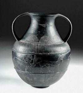 Etruscan Bucchero Amphora w/ Animals, ex-Christie's