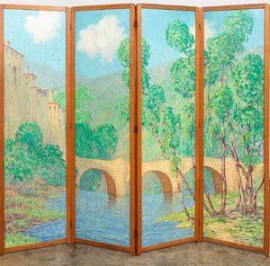 Harry Hoffman, Painted Landscape, Folding Screen