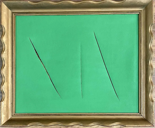Lucio Fontana, untitled oil painting. Image from Auction Kings Gallery.