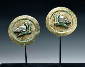 Matched Moche Gilt Copper Earspools w- Silver Snails