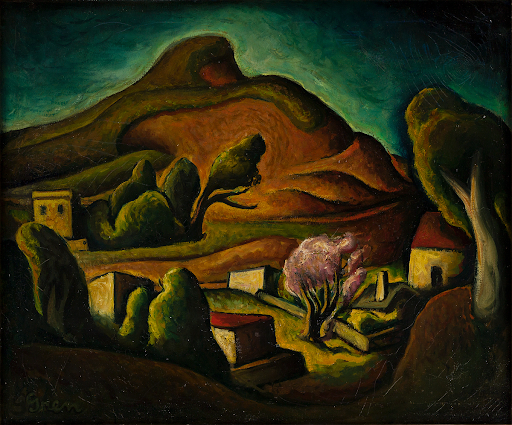NILS GREN Solemn Hill, California, Oil on canvas, circa 1930. Image from Swann Galleries.