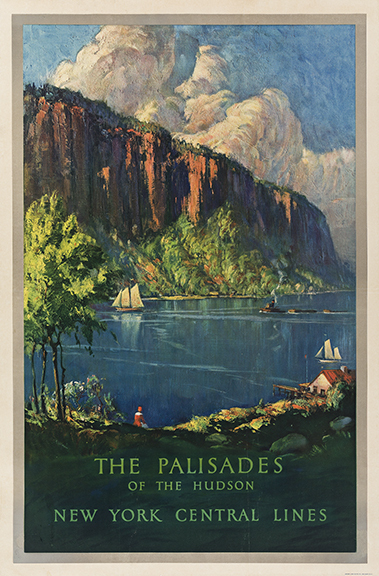 Anthony Hansen, The Palisades of the Hudson / New York Central Lines, circa 1930s. Sold for $5,750, a record for the poster.