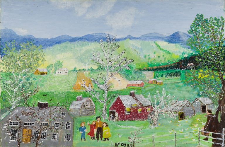 Anna Mary Robertson (Grandma) Moses, Happy Days, oil on masonite, 1961. Image from Swann Galleries.