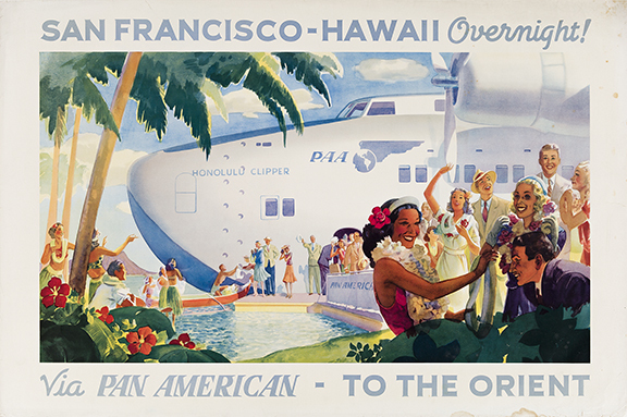 Paul George Lawler, San Francisco – Hawaii Overnight / Via Pan Am.- To the Orient, 1939. Sold for $21,250, a record for the artist.