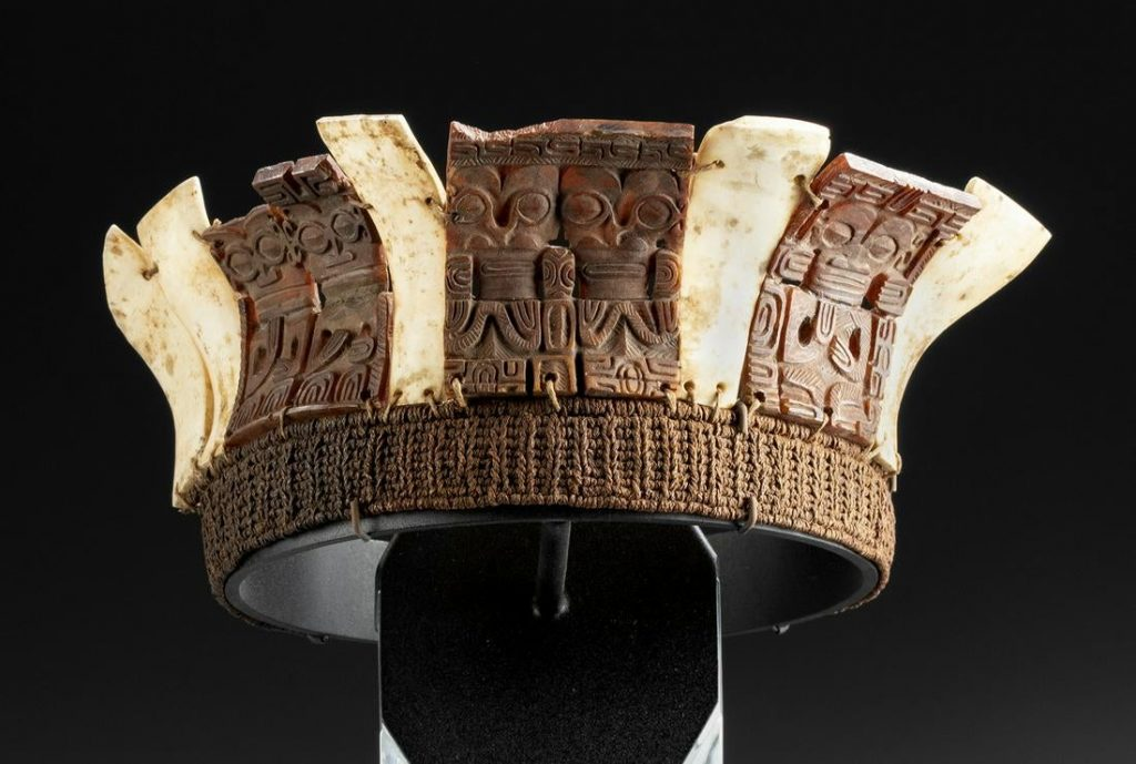 18th-19th century CE Marquesas Islands (French Polynesia) pa'e kaha, or coronet, made of shell, tortoiseshell and sennit (coconut fiber); carved with relief and openwork motifs of tiki figures. Ex Hawaii private collection; collection of Mark Blackburn (Hawaii); collection of Abraham Rosman (NYC). Estimate $70,000-$90,000