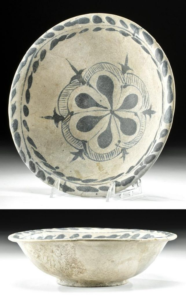 9th-10th century CE Abbasid Dynasty lusterware ceramic bowl made in ancient Iraq and inspired by Tang China, 7.95in diameter. Sold at Christie's London in 2006. Estimate $80,000-$120,000