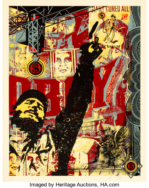Shepard Fairey (b. 1970). Castro Collage, 2003. Screenprint in colors on paper. 48 x 36 inches