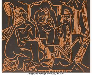 Pablo Picasso (1881-1973). Le déjeuner sur l'herbe, 1964. Terre de faïence plaque
