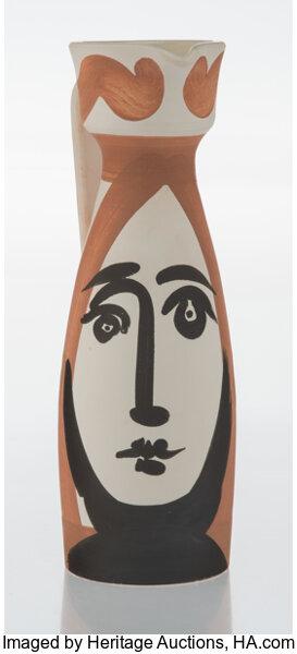 Pablo Picasso (1881-1973). Visage, 1955. Terre de faïence pitcher