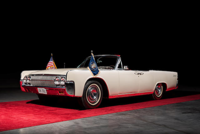 White 1963 Lincoln convertible that transported John F. Kennedy. Image from Bonhams.