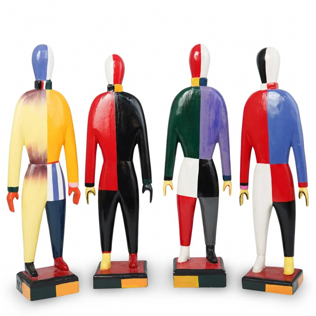 Four sculptural figures in the style of Kazimir Malevich. Image from Akiba Antiques