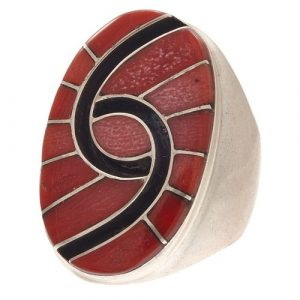 Amy Quandelacy Zuni Coral, Sterling Silver Ring