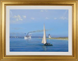 Tim Thompson Oil on Canvas Summer in the Sound - Steamer Nantucket Passing Brant Point Lighthouse