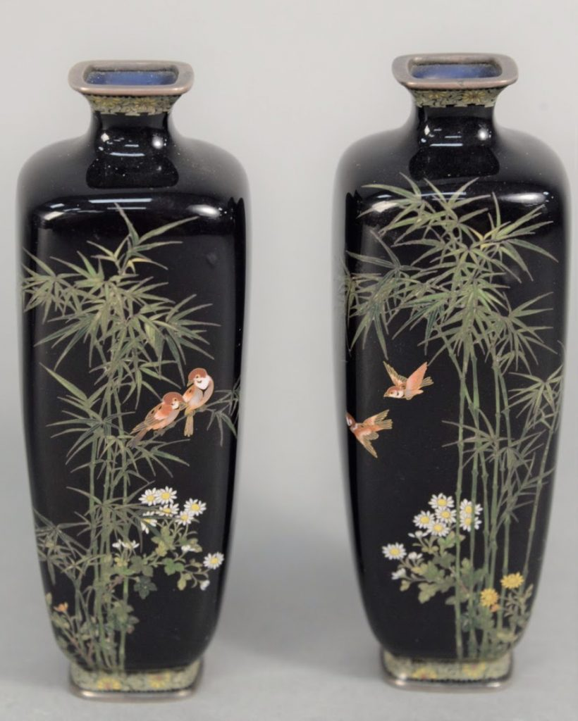 Pair of Cloisonne Vases by Hayashi Kodenji. Photo courtesy of Nadeau's Auction Gallery.