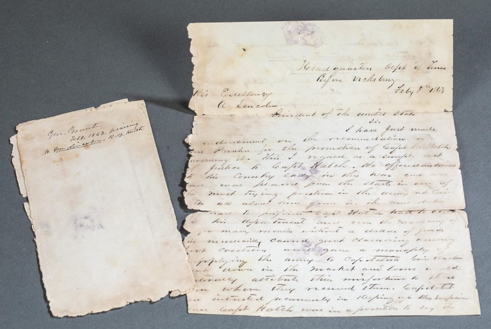 Letter from General Ulysses S. Grant to Abraham Lincoln, dated Feb. 8, 1863, believed to have been dictated by Grant and written by another hand as a retained or field copy, estimate $4,000-$6,000