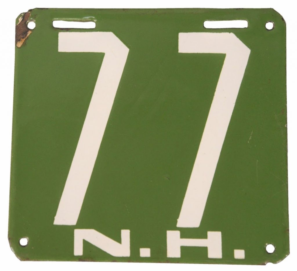 New Hampshire License Plate, 1905. Photo courtesy of Nadeau's Auction Gallery.