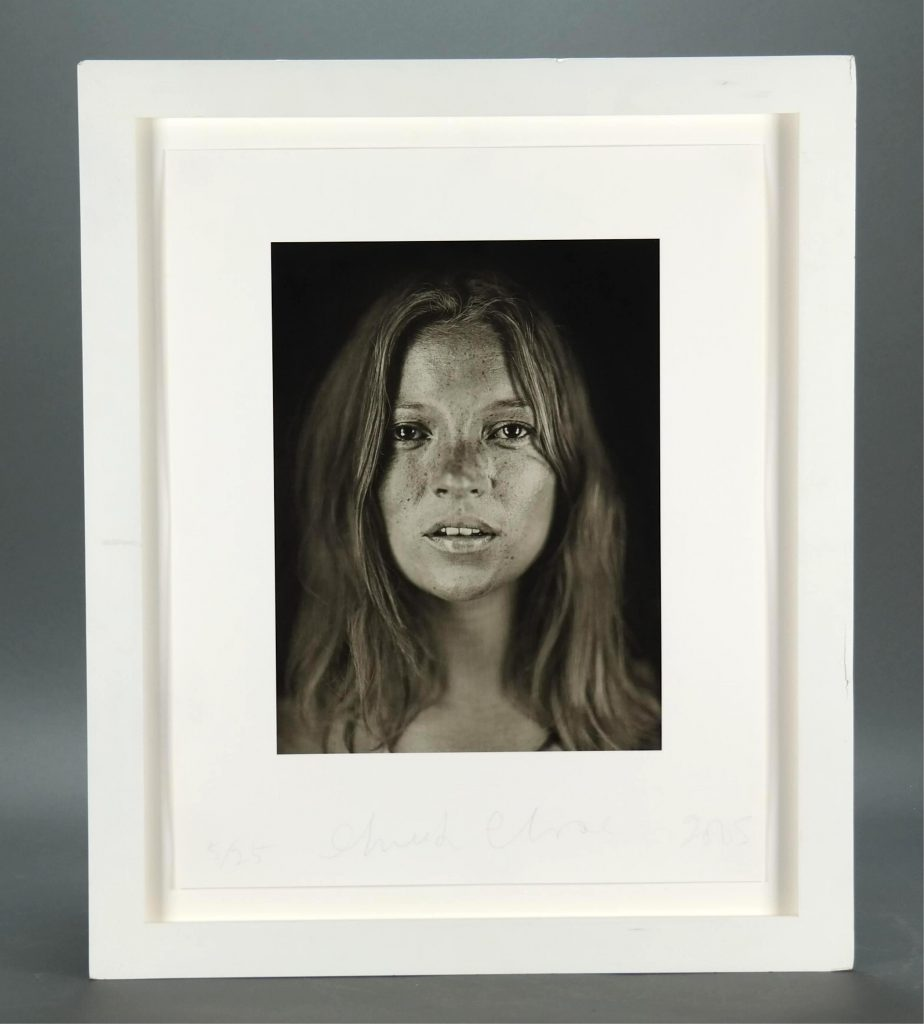 Photograph of supermodel Kate Moss (British, b. 1974-) by the artist and photographer Chuck Close (American, b. 1940-), titled Portrait of Kate Moss, taken in 2005 as part of a series commissioned by W Magazine, estimate $10,000-$12,000