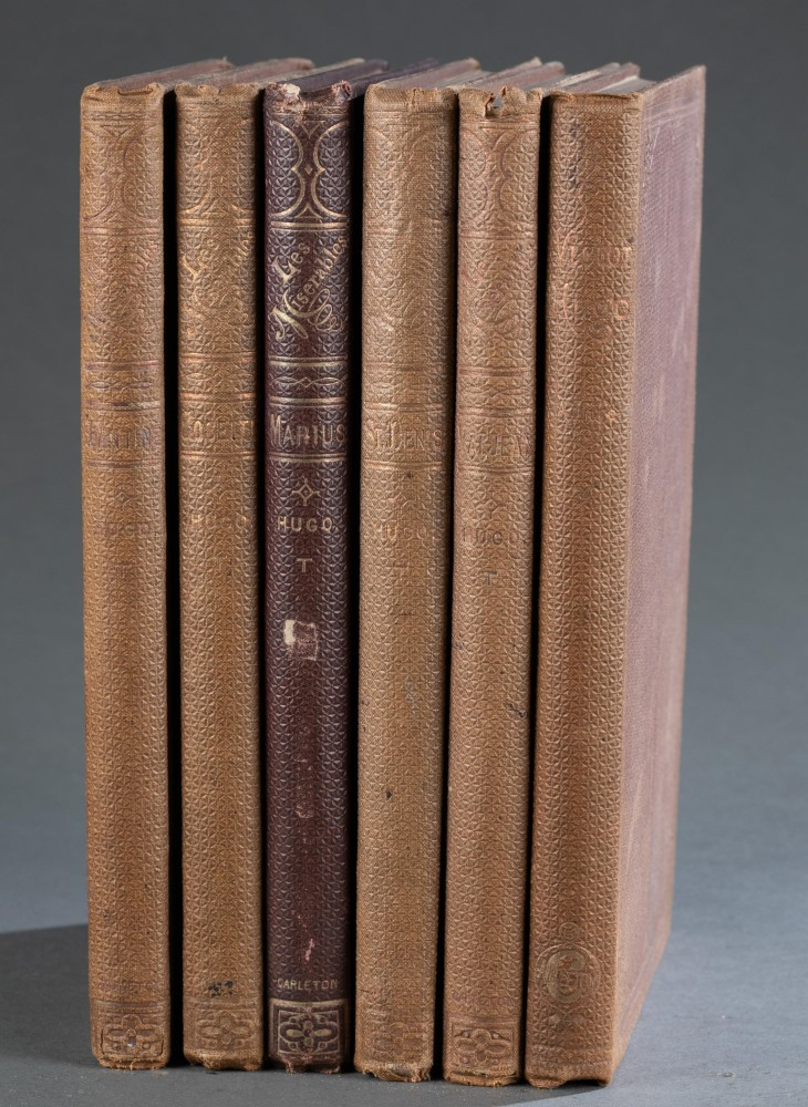 First U.S. six-volume edition of Victor Hugo's Les Miserables, translated from the French and published in 1862 by Carleton (New York), estimate, $700-$900