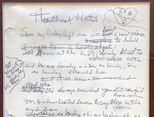 Original handwritten lyrics to the 1956 Elvis Presley hit song Heartbreak Hotel will be auctioned November 19th-20th