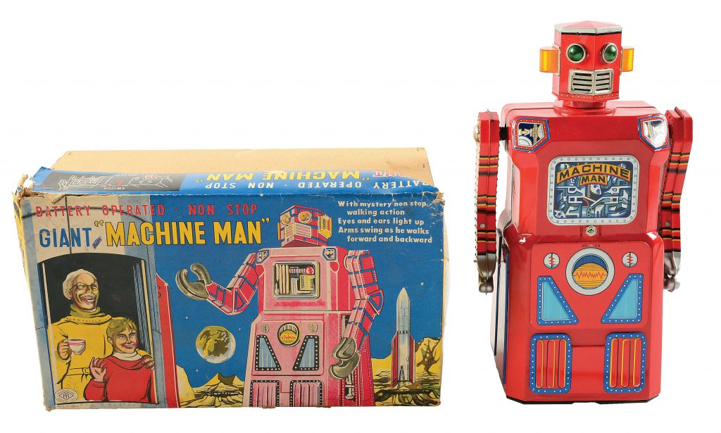 Very rare Masudaya (Japan) Machine Man robot, lithographed tin, battery operated. VG-NM condition with very seldom-seen original pictorial box. Comes from original owner who received it as a child. Sold for $160,000 against an estimate of $60,000-$90,000