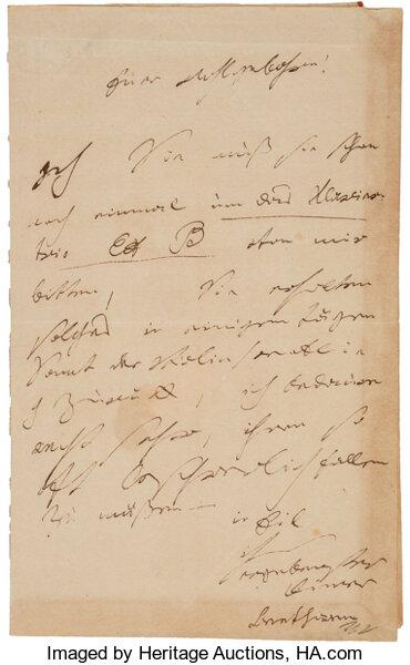 Ludwig van Beethoven Autograph Letter