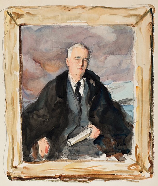 """Elizabeth Shoumatoff, three watercolor studies for the """"Unfinished Portrait"""" of Franklin D. Roosevelt, 1945. Sold for $40,000."""