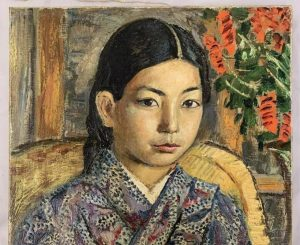 Oil on canvas painting of a Japanese girl by David Burliuk (1882-1967) brings $39,100 at Weiss Auctions, September 16th